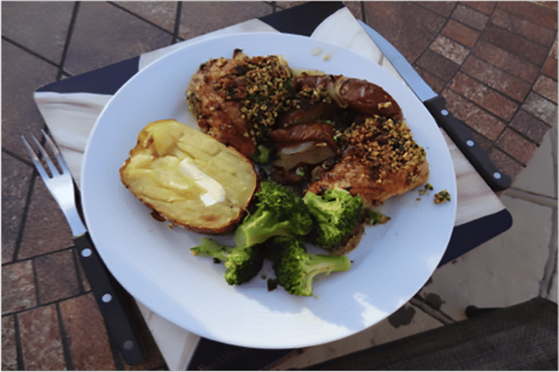 Baked Chicken Thighs with Pears & Hazelnut Crust