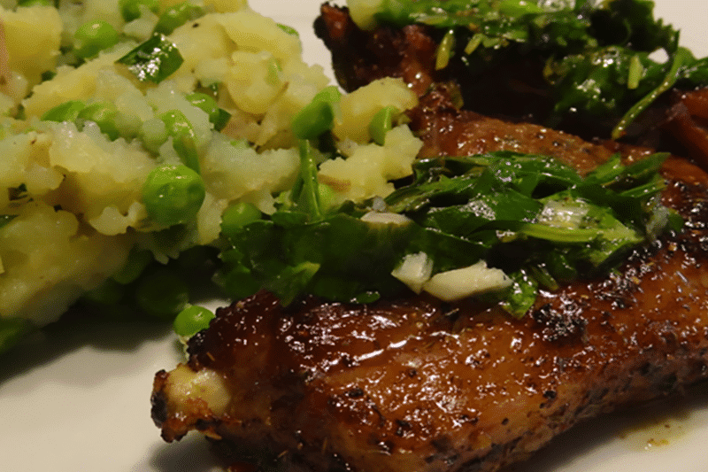 Spiced Lamb Chops with Crushed Potatoes & Peas