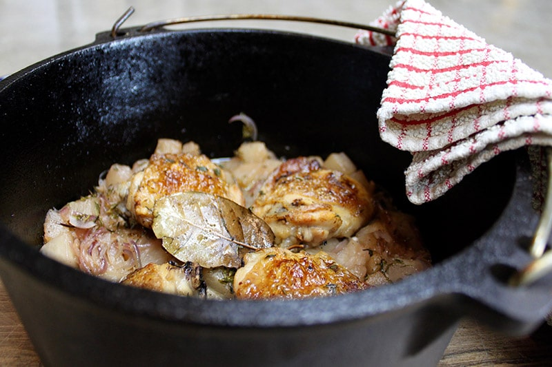 Wood Fired Chicken Thighs with Turnips and Pears