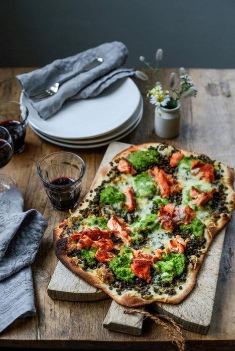 Stone Bake's Hot Smoked Salmon and Pea Puree Pizza