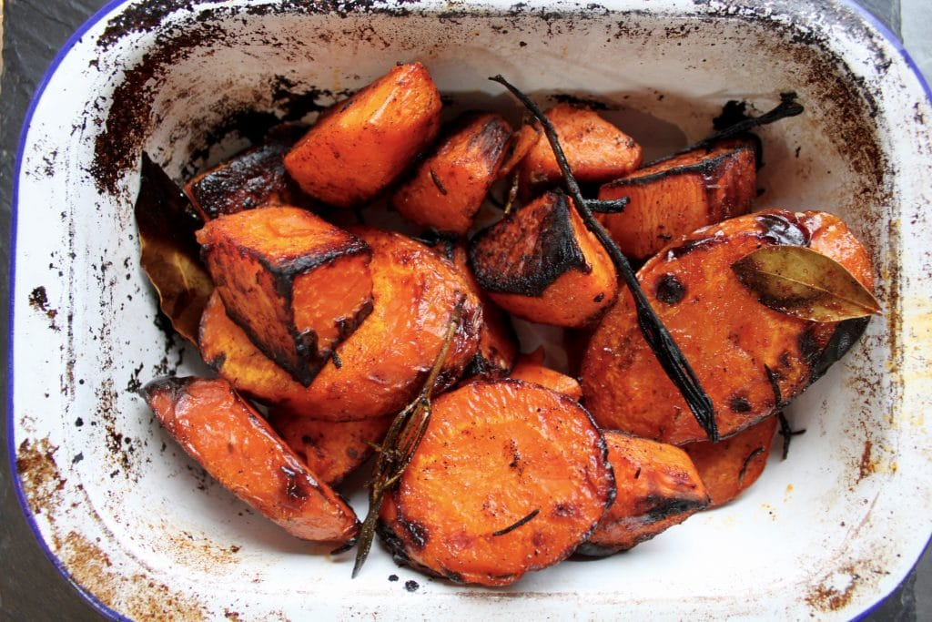 Roasted Carrot & Sweet Potatoes with Smoked Paprika & Rosemary
